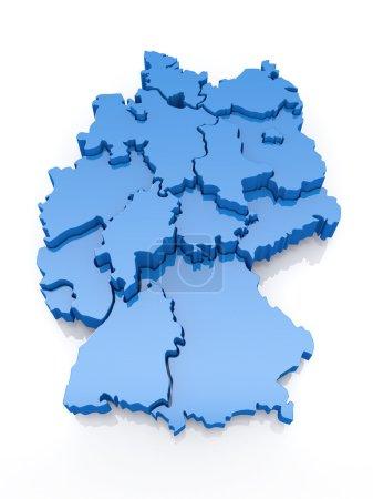 Photo pour Carte tridimensionnelle de l'Allemagne sur fond blanc. 3d - image libre de droit