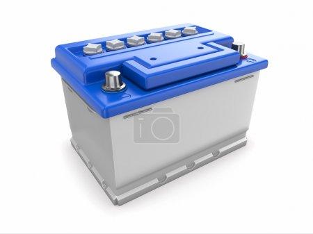 Photo pour Batterie de voiture sur fond blanc. Image tridimensionnelle . - image libre de droit