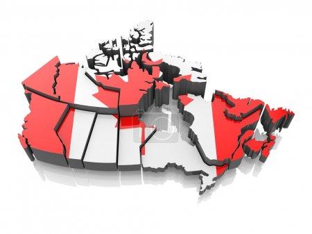 Photo pour Carte du canada dans les couleurs du drapeau national. 3D - image libre de droit