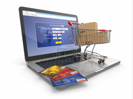 Photo for E-commerce. Shopping cart and credit cards on laptop. 3d - Royalty Free Image