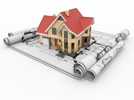 Photo for Residential house on architect blueprints. Housing project. 3d - Royalty Free Image