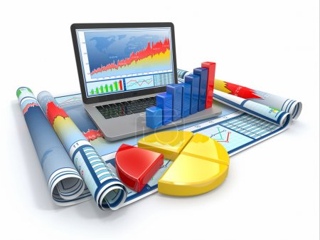 Photo for Business analyze. Laptop, graph and diagram. 3d - Royalty Free Image