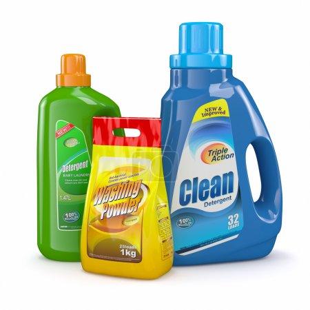 Washing powder and detergent bottles.