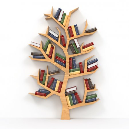 Photo for Tree of knowledge. Bookshelf on white background. 3d - Royalty Free Image