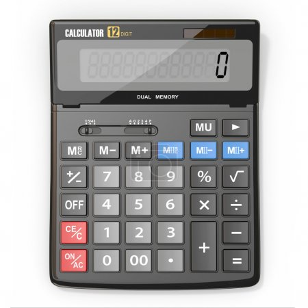 Photo pour Calculatrice d'entreprise sur fond blanc isolé. 3d - image libre de droit