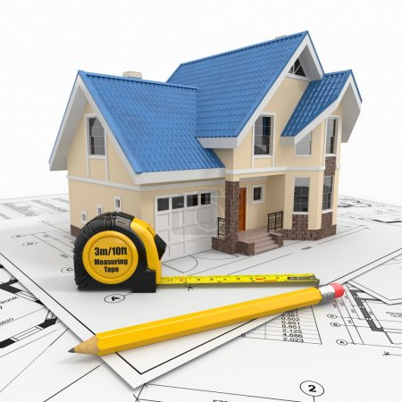 Photo for Residential house with tools on architect blueprints. Housing project. 3d - Royalty Free Image