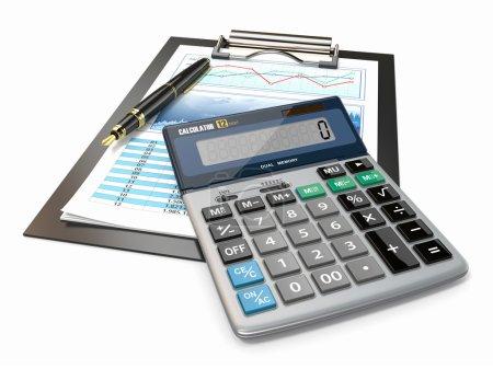 Photo pour Concept financier. graphique boursier avec calculatrice et stylo. - image libre de droit