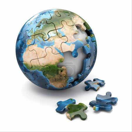 Photo pour Concept de mondialisation. Puzzle de la Terre sur fond blanc. Éléments de cette image fournis par la NASA - image libre de droit