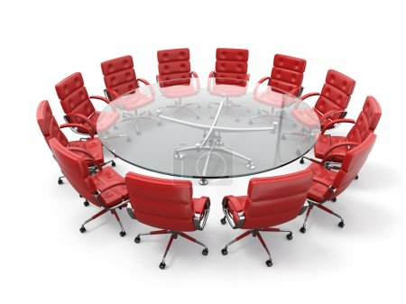Photo for Concept of business meeting or brainstorming. Circle table and red armchairs. 3d - Royalty Free Image