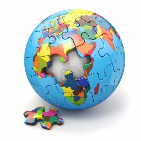 Concept of Globalization. Earth puzzle. 3d