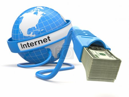 Photo for Make money online. Concept. Earth and internet cable with money. 3d - Royalty Free Image