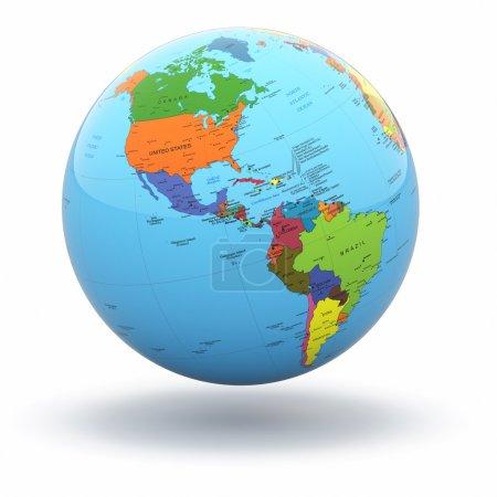 Photo pour Globe terrestre politique sur fond isolé blanc. 3D - image libre de droit