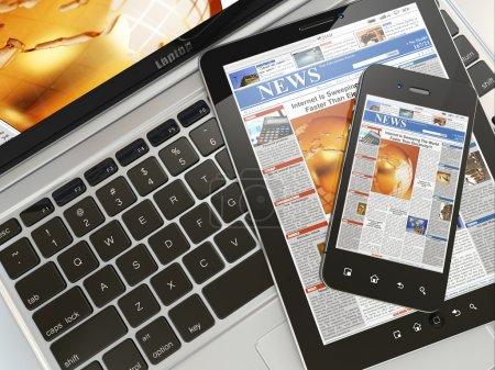 Digital news. Laptop, mobile phone and digital tablet pc