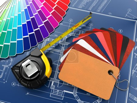 Photo for Interior design. Architectural materials, measuring tools and blueprints. 3d - Royalty Free Image