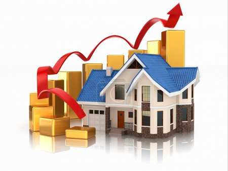 Photo for Growth of real estate market House and graph. 3d - Royalty Free Image