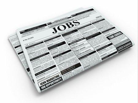 Photo pour Travail de recherche. Journal avec publicités sur fond isolé blanc. 3D - image libre de droit