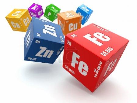 Photo pour Concept de chimie. Tableau périodique des éléments sur cubes 3d - image libre de droit