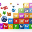 Chemistry concept. Wall from cubes wiyh periodic t...