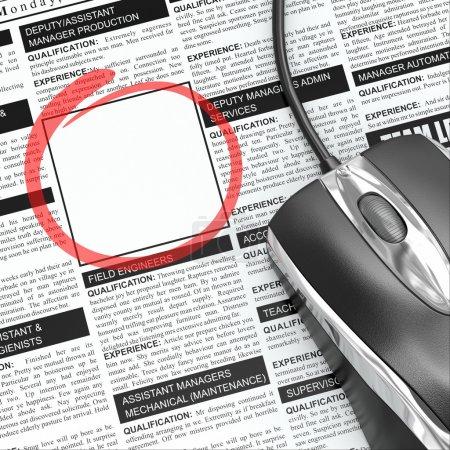 Foto de Busca un trabajo. Concepto de reclutamiento. Periódico con marco vacío. 3d - Imagen libre de derechos