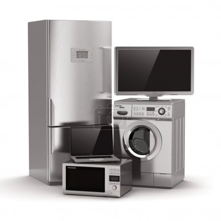 Photo for Home appliances. Tv, refrigerator, microwave, laptop and washing maching. 3d - Royalty Free Image