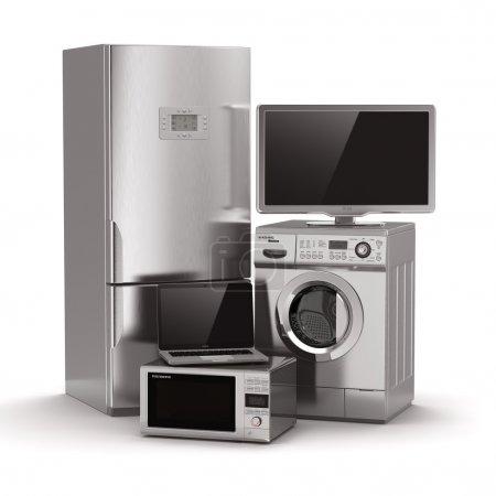 Photo pour Appareils ménagers. TV, réfrigérateur, micro-ondes, ordinateur portable et machine à laver. 3d - image libre de droit