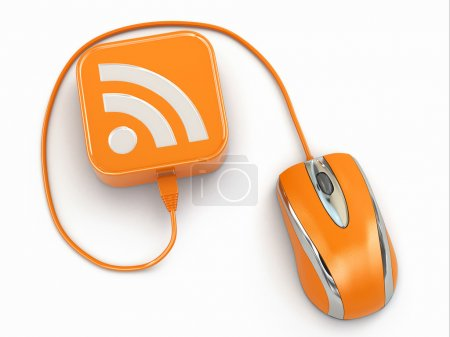 Photo for Computer mouse and rss sign. Three-dimensional concept. 3d - Royalty Free Image