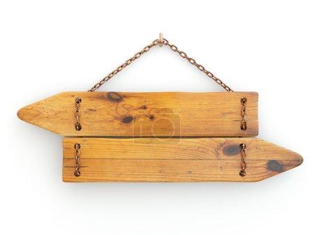 Photo pour Directions. Vieille enseigne en bois sur chaîne. 3d - image libre de droit