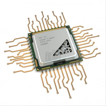 Photo for CPU. Gears inside processor on white isolated background. 3d - Royalty Free Image