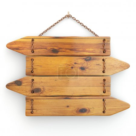 Photo for Directions. Old wood signboard on chain. 3d - Royalty Free Image
