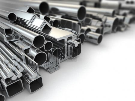 Photo for Metal profile and pipes on white background. 3d - Royalty Free Image