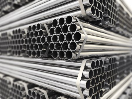 Photo for Metal pipes. Steel industry background. Three-dimensional image, - Royalty Free Image