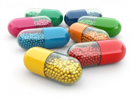 Photo for Pills and drugs on white isolated bacground. Medical concept. 3d - Royalty Free Image