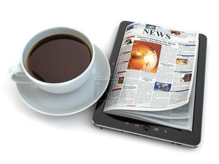Photo pour Actualités sur tablet pc avec une tasse de café. 3D - image libre de droit