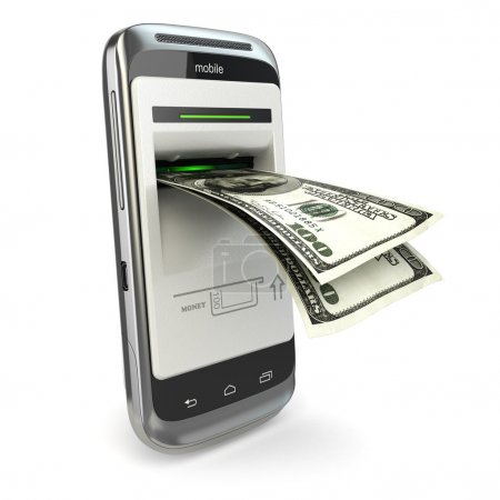 Mobile banking. Phone payment. Cellphone and dollar.