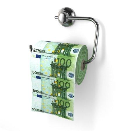Photo pour Dévaluation de l'euro. De l'argent comme papier toilette. 3d - image libre de droit
