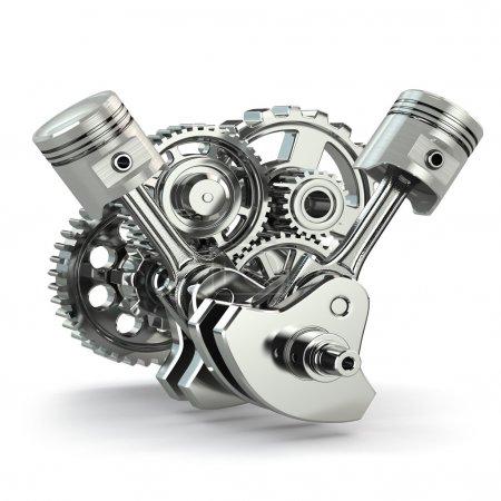 Photo pour Concept de moteur. Engrenages et pistons sur fond blanc isolé. 3d . - image libre de droit