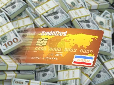 Photo pour Carte de crédit sur fond dollar packs. 3d - image libre de droit