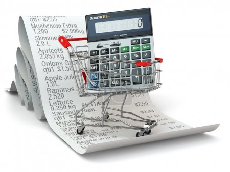 Shopping cart with calculator on reciept