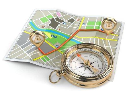 Photo pour Navigation et concept GPS. Boussole et carte. 3d - image libre de droit