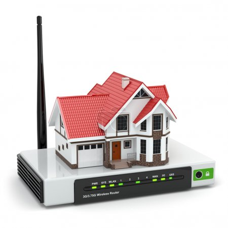 Photo for Home wireless network. House on wi-fi  router. 3d - Royalty Free Image