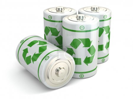 Photo pour Concept de recyclage vert batterie. Piles sur fond blanc isolé. 3d - image libre de droit
