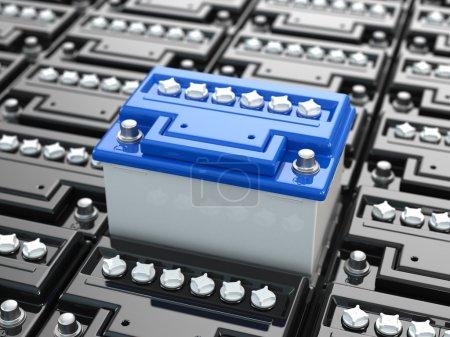 Photo pour Batteries de voiture fond. Des accumulateurs bleus. Image en trois dimensions. 3d - image libre de droit