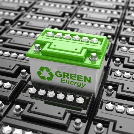 Photo pour Recyclage des batteries. L'énergie verte. Contexte des accumulateurs. 3d - image libre de droit