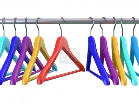 Photo for Clothes hangers on white isolated  background. 3d - Royalty Free Image
