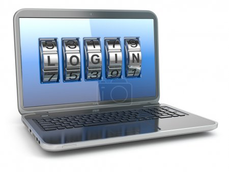 Photo for Computer or internet security concept. Laptop with code login. 3d - Royalty Free Image