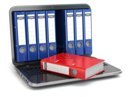 Data storage. Laptop  with file ring binders.