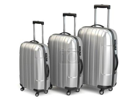 Baggage. Aluminium suitcases on white isolated background.