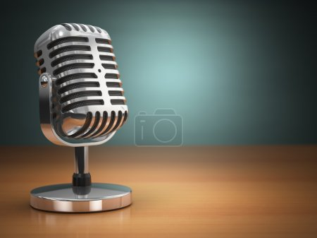 Vintage microphone on green background. Retro style.