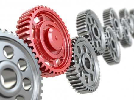 Photo for Machine gears on white background. Teamwork concept.. 3d - Royalty Free Image