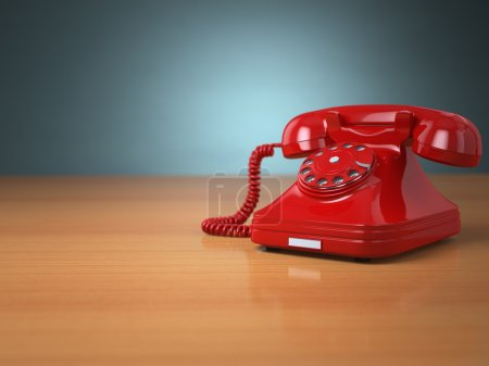 Vintage phone on green background. Hotline support...